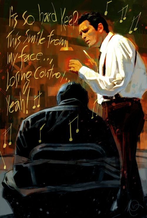 """""""Stuck in the Middle With You"""" during the infamous torture scene in the film """"Reservoir Dogs"""". Killer Italian Artwork Inspired by Great American Movies."""