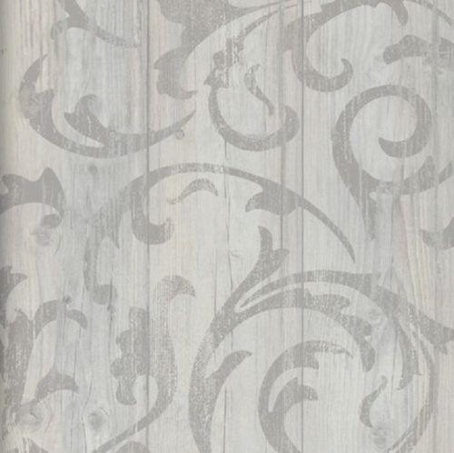 Details zu Vlies Tapete Antik Holz rustikal Ornament Muster Barock grau beige…