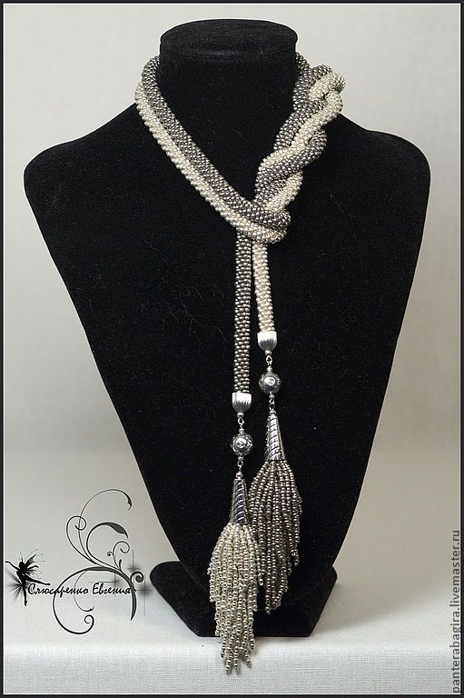 """Купить Лариат """"Эдельвейс"""" - лариат, лариат из бисера, галстук из бисера, Галстук вязаный"""
