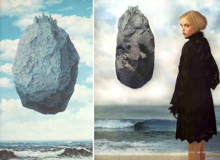 Could you believe that photographer Andrew Matusik used Rene Magritte as inspiration for his photoshoot!? For Genlux magazine winter issue, Andrew created an Amazing editorial called ' Sir Realist ' – A beautiful work, really well executed, and you can see that Andrew spends a lot on photoshop compare to Magritte who was painting – Technology Vs. Art