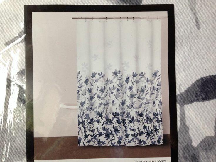 DKNY Home Floral Fabric Shower Curtain Garden Splash Grey