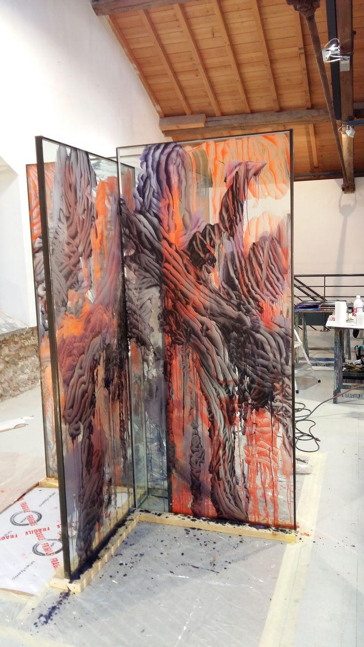 Francois Nugues - Peinture sur verre - Live - performance - work in progress