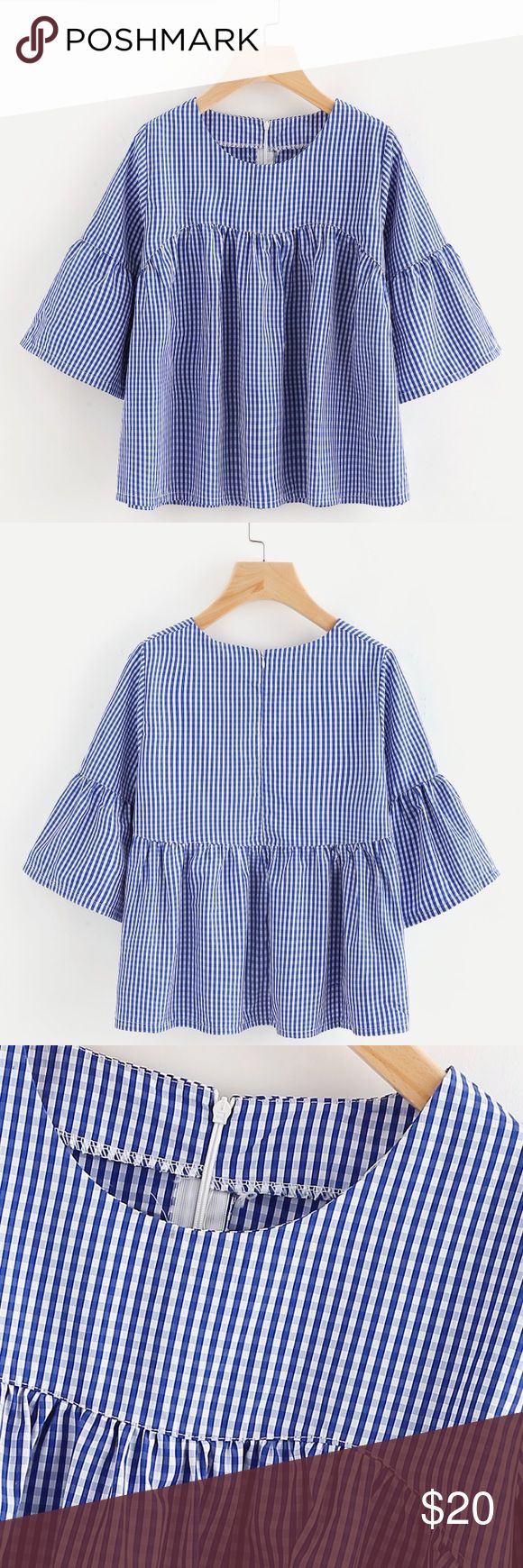 Blue gingham smock top Tagged for exposure. Bought from online boutique. There's no label. Brand new! Only tried on but didn't fit me :( Zara Tops Blouses