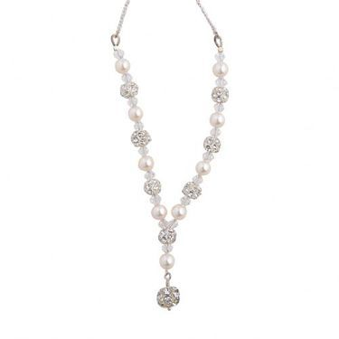 Scarlett, pearl, swarovski crystal and diamante ball earrings with sterling silver stud post