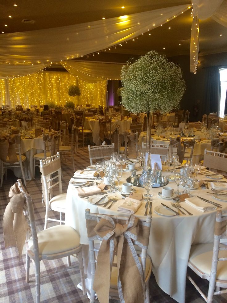 Centre pieces, flowers, hessian, beautiful, Bannister suite, wedding breakfast