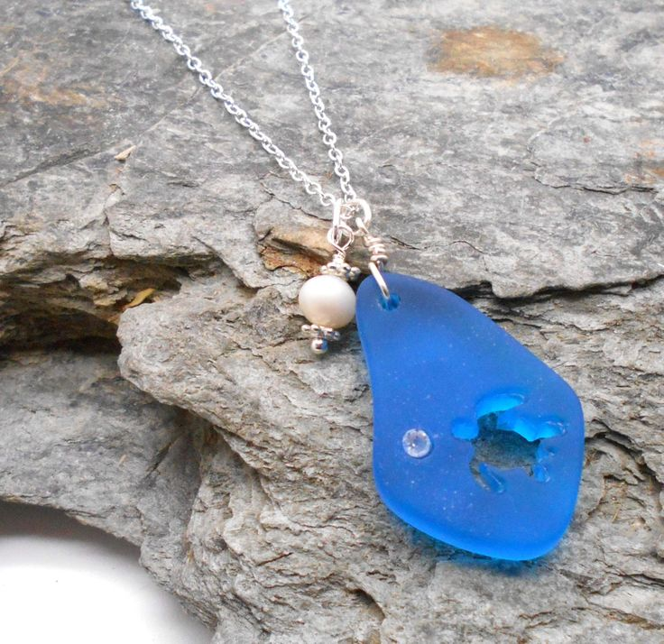 Turquoise Beach Glass Necklace Cut Out Turtle - Beach Glass, Sea Glass, Beach Wedding, Tropical, Turquoise Beach Glass, Bridesmaids by HaoleGirlHaiku on Etsy
