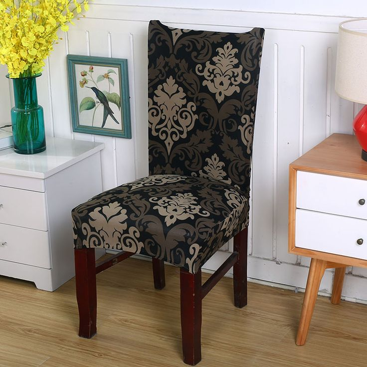 1pc spandex stretch vintage Baroque style flowers modern living room party dining chair covers universal dustproof slipcovers