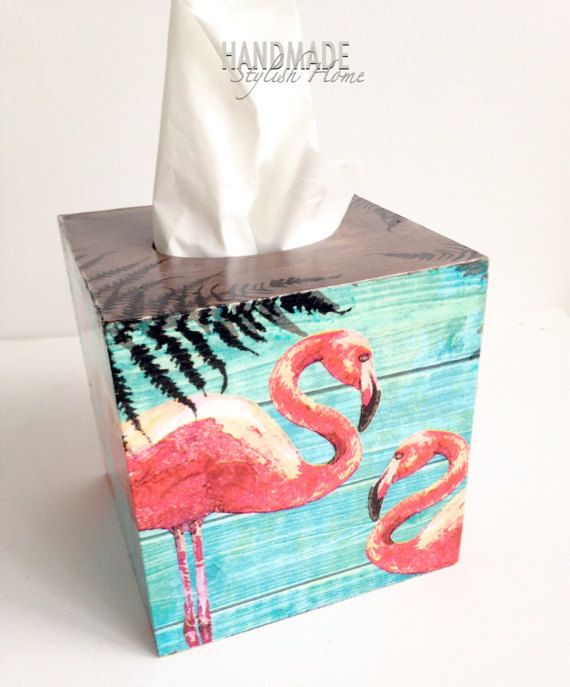 Handmade wooden tissue box cover/ kleenex box holder. Hand painted and decorated in decoupage technique wooden tissue box holder. This box has an opening bottom to put your tissue box inside and make it look nice. The top has a round opening. It can be used in your office, bedroom, bathroom or any room in your home. It will also make a lovely gift. Pink and turquoise flamingo design. It is made with high quality materials and paints. This item is unique, one of a kind. I make it myself...
