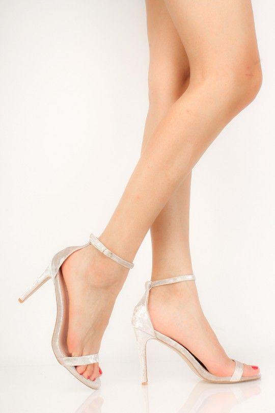 39c2f0eb3a9 Silver Crushed Velvet Single Sole High Heels in 2019