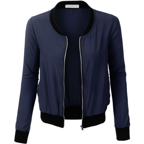 LE3NO Womens Ultra Lightweight Short Bomber Jacket (£18) ❤ liked on Polyvore featuring outerwear, jackets, outer, coats, outer wear, blue short jacket, blouson jacket, lightweight bomber jacket, bomber style jacket and flight jacket