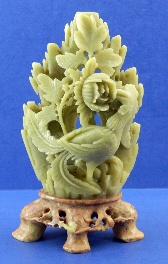 Soapstone carving bird flowers vintage antique asian