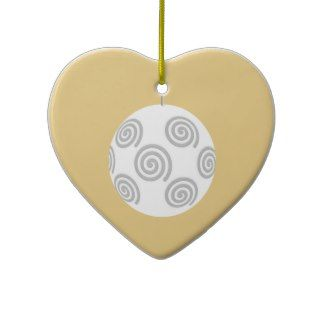 White Christmas Bauble. On Gold Color. Ornament