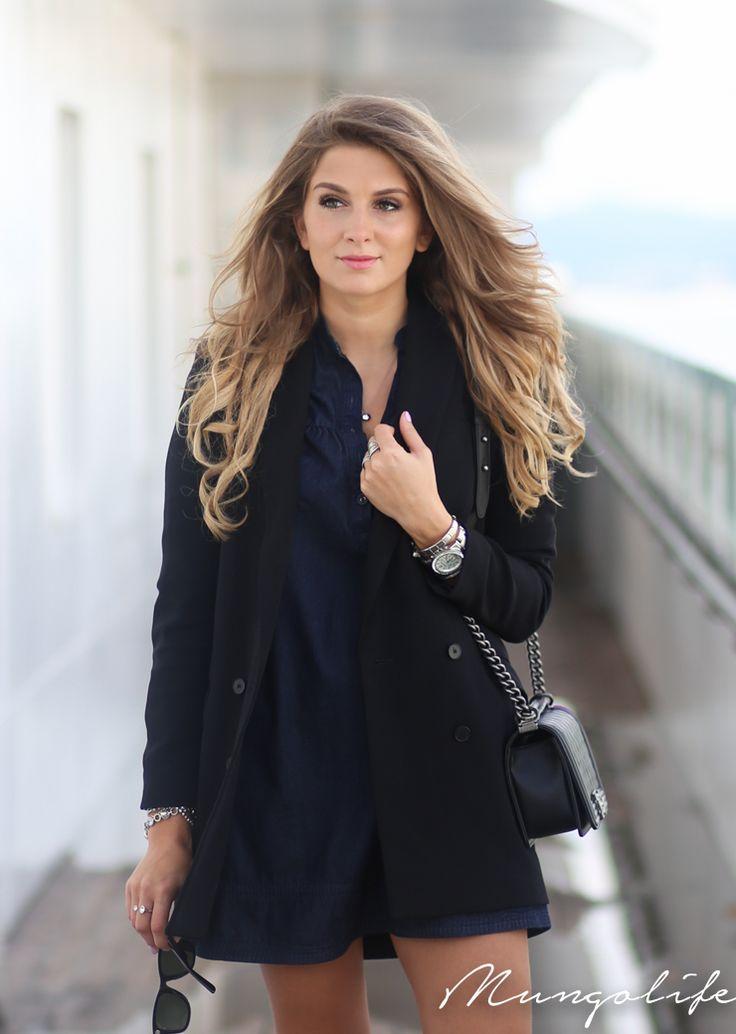 Perfect outfit! H&M blue dress, Chanel Le Boy bag, H&M ...