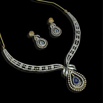 Cz blue sapphire real diamond pattern necklace set