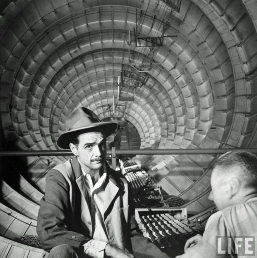 "Howard Hughes inside the fuselage of his H-4 Hercules troop transport plane, the ""Spruce Goose,"" 1947. shot by J.R. Eyerman for LIFE [possibly from series shot days before the one-and-only flight] but not published in LIFE. AT THE LINK - Life series, published and un-"