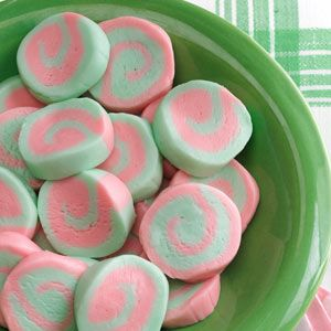 Pinwheel Mints Recipe -Both my grandmother and my mom used to make these eye-catching confections as a replacement for ordinary mints. When I offer them at parties, guests tell me the mints are wonderful, and then ask how I created the pretty swirl pattern. —Marilou Roth, Milford, Nebraska