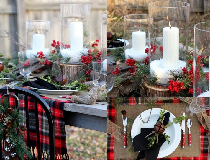 Outdoor Winter Wedding Ideas: Outdoor Winter Wedding Tablescape Plaid Red Berries
