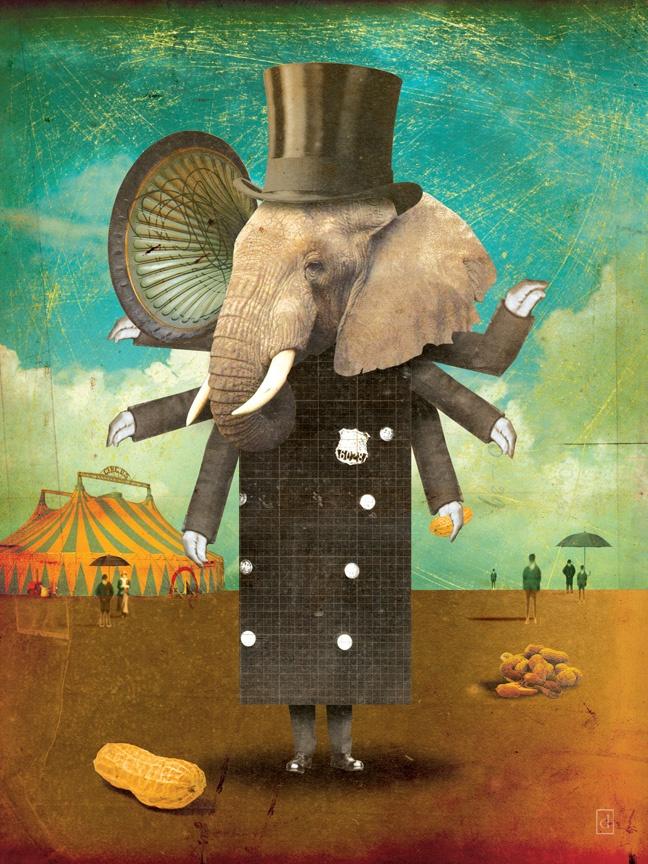 Circus-Circus: Security :: © David Vogin IllustrationWall Art, Circus Circus, David Vogin, Elephant, Collage, Children Illustration, Big Tops, Circuscircus Security, Animal