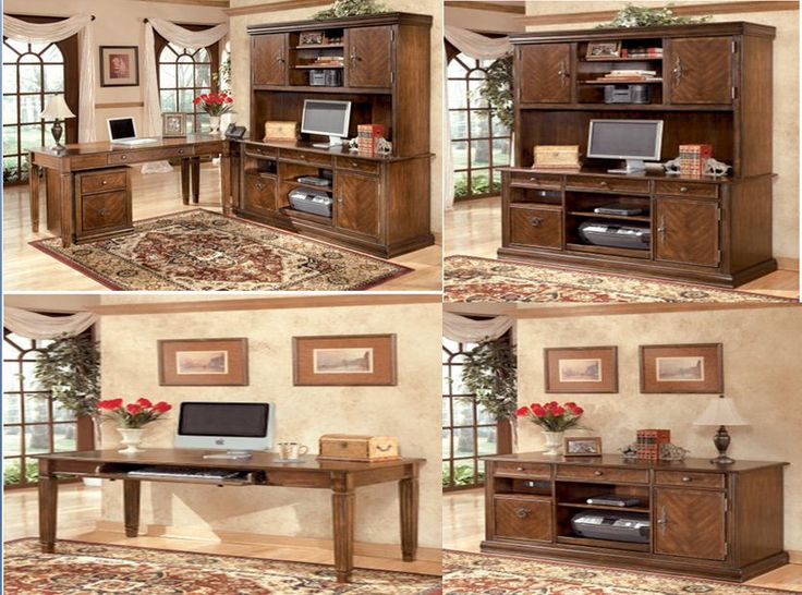 Signature design by ashley hamlyn 5 pc home office for Ashley furniture home office collection
