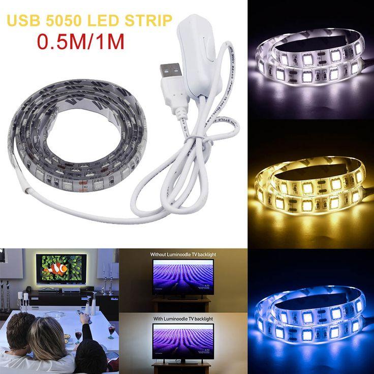USB DC 5V LED Strip 5050 TV Background Lighting 50cm / 1m set 60LEDs/m Warm White / White /Blue/ RGB USB Cable with Switch Strip #Affiliate