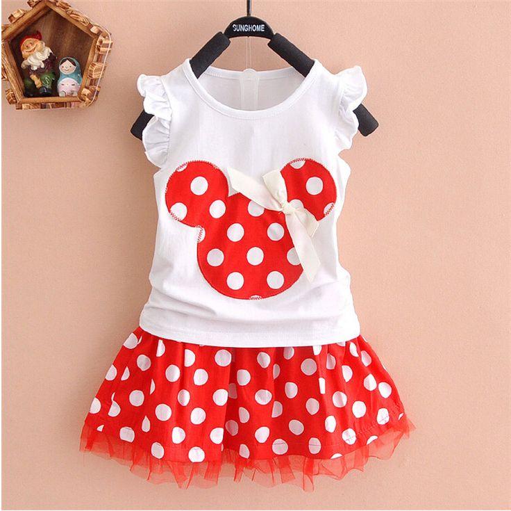Aliexpress.com: Comprar Caliente! 2015 recién llegado de marca Baby Girls Cartoon Minnie Mouse Polka Dot vestido de traje de niña de ropa 100% algodón de vestido de ropa del bebé fiable proveedores en prince princess party