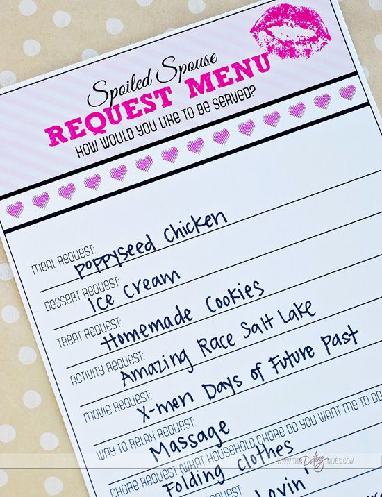 It's been a while since I actively thought about doing only what my wife wants to do. This Spoil your spouse  request menu will make things a lot easier when I start planning!