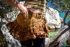 Boho psy goa festival skirt, gypsy lace skirt, sexy skirt, bohemian skirt, skirt with pocket and belt, psychedelic festival skirt by wikandah on Etsy