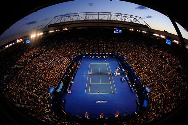 A bird's eye view of play on Rod Laver Arena