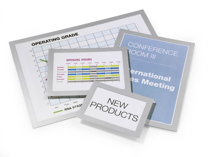 DURAFRAME® - The original magnetic signage range from Durable. Available in various colours and sizes. Simply stick the self adhesive backing to any smooth surface and lift the magnetic frame to insert your information.