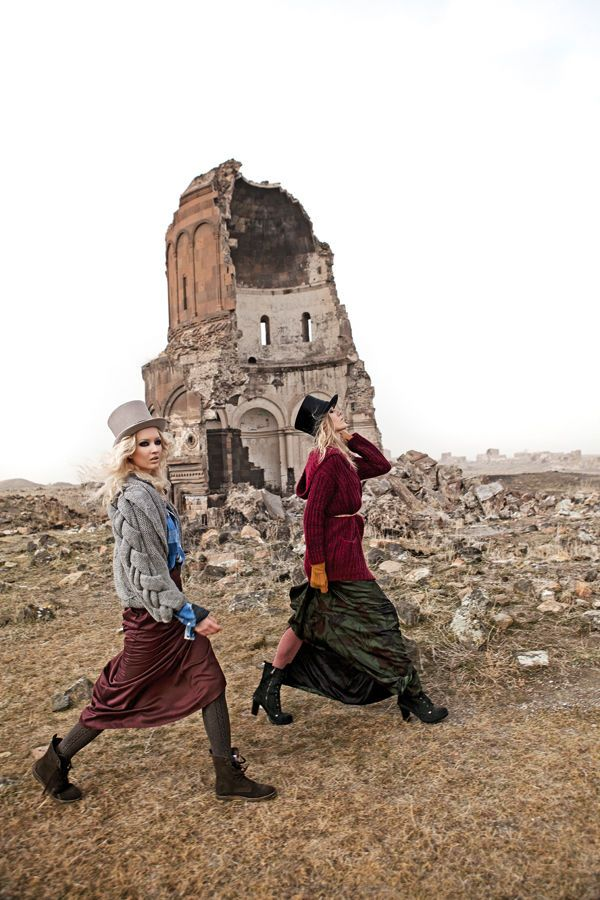 High fashion in the ancient city of Ani, Turkey.