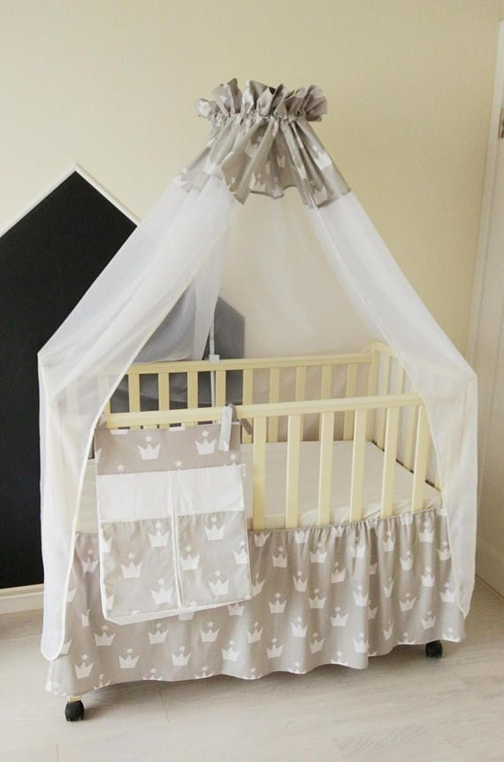 Home & Living  Bedding  baby bedding set  Crib bedding set  crib canopy  diaper organizer  crib skirt  nursery decor baby shower gift  gift for baby  baby crib bedding  baby gift set  grey and white  crown decor nursery  toddler bedding