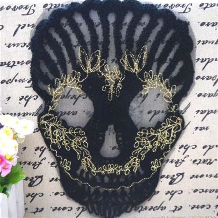 Black skull Patch for clothes Sew-on embroidered