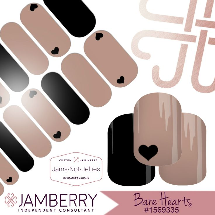 Bare Hearts ❤ Jamberry Custom NAS Design ❤ Custom Valentine's Nail Art ❤ Easy Neutral Heart Nail Art