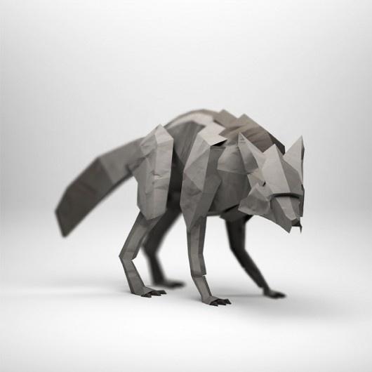 Jeremy Kool: Wolf, Art, Paper Sculpture, Jeremy Kool, Origami, Foxes, Design