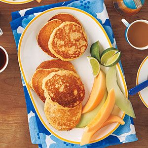 Coconut Milk Pancakes with Maple-Lime Syrup | MyRecipes.com