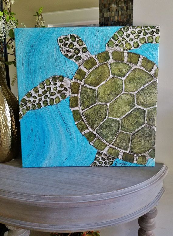 Wonderful sea turtle textured painting, 24 X 24 wrapped edge canvas. This fabulous textured design of a green/brown sea turtle swimming in