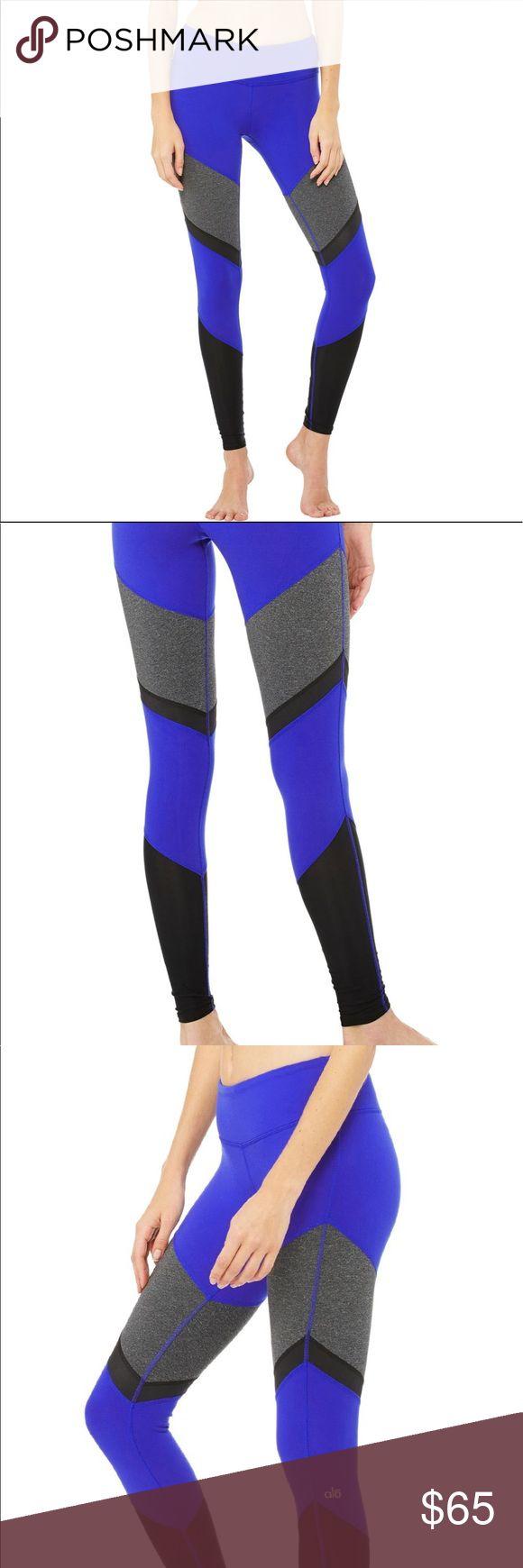 ALO Yoga Sheila Legging Small Electric Blue SHEILA LEGGING - DEEP ELECTRIC BLUE/STORMY HEATHER/BLACK GLOSSY/BLACK. Like new. Worn 2x. Too small for me. ALO Yoga Pants Leggings