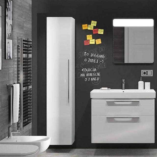 Funkcjonalnie!  #KOŁO #łazienka #inspiracja #łazienki #meble #umywalka #washbasin #biel #szarość #instadesign #interior #interiors #wystrójwnętrz #styl #bathroom #wc