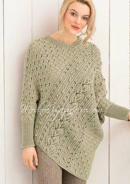 Пуловер-пончо связанный спицами необычным способом