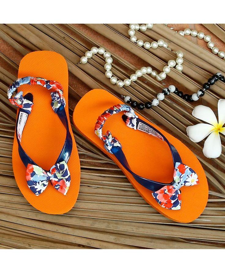 Orange Trendy Flip Flop With Floral Bow  #FlipFlop #Orange #Rubber