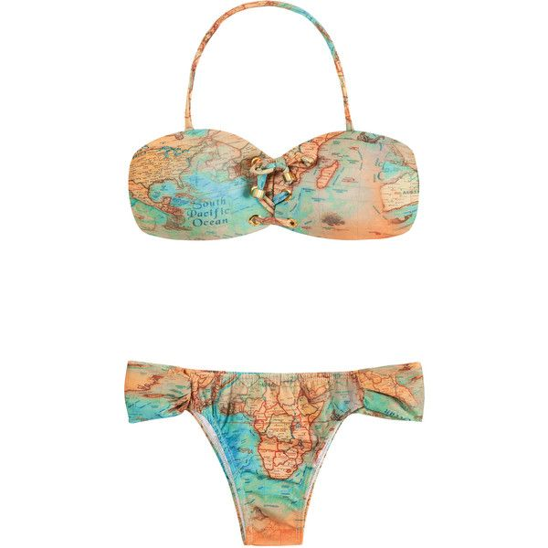 Ellis Beach Wear Two-piece Swimsuit With Laced Bandeau Top - Bikini... ($140) ❤ liked on Polyvore featuring swimwear, bikinis, beige, bikini swimsuit, two piece bikini, two piece swimsuits, bandeau bikini top and two piece bathing suits