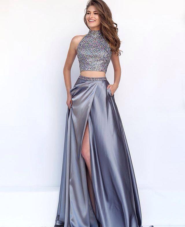 Two Piece Silver Prom Dress