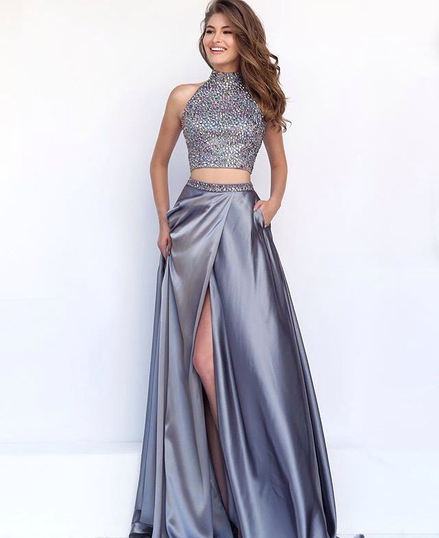 Two Piece Silver Prom Dress