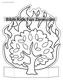 Stand-up Burning Bush craft for kids to color.