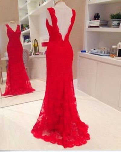 Long Evening Ball Prom Gown Formal Bridesmaid Cocktail Party Lace Dress Red #Generic #BallGown #Formal