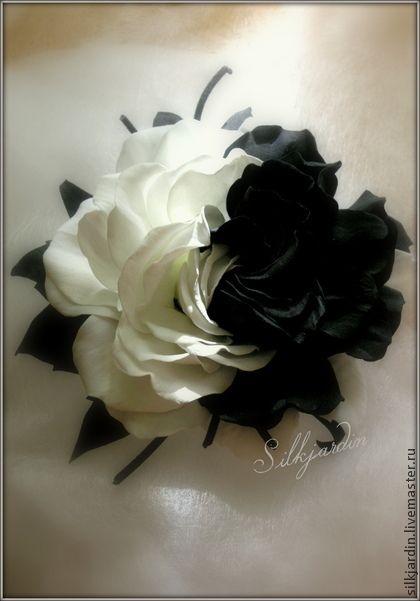 """ЦВЕТЫ ИЗ ФОАМИРАНА. брошь-заколка роза """"Инь-Янь"""" - чёрно-белый,роза,цветы из фоамирана"""
