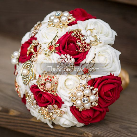 Hey, I found this really awesome Etsy listing at https://www.etsy.com/listing/193576417/red-and-gold-brooch-bouquet-inspired-by