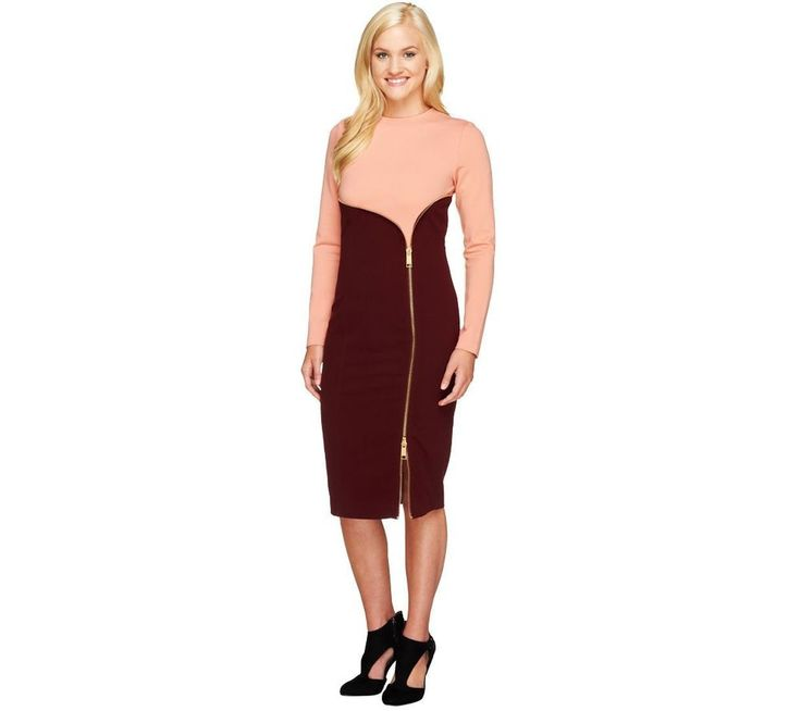 Gili Flattering Two Toned Mixed Media Zipper Dress Rose Bordeaux 2 A257510