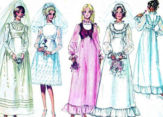 1970s Wedding Dress Pattern Simplicity 9608 Empire Waist Boho Wedding Gown Bridal Gown Bridesmaid Dress Womens Vintage Sewing Pattern B34
