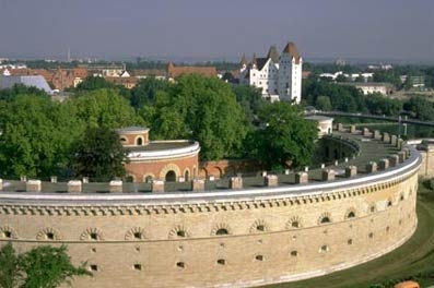 Klenzepark overlooking Neues Schloss (Newcastle), Ingolstadt, Bavaria, Germany